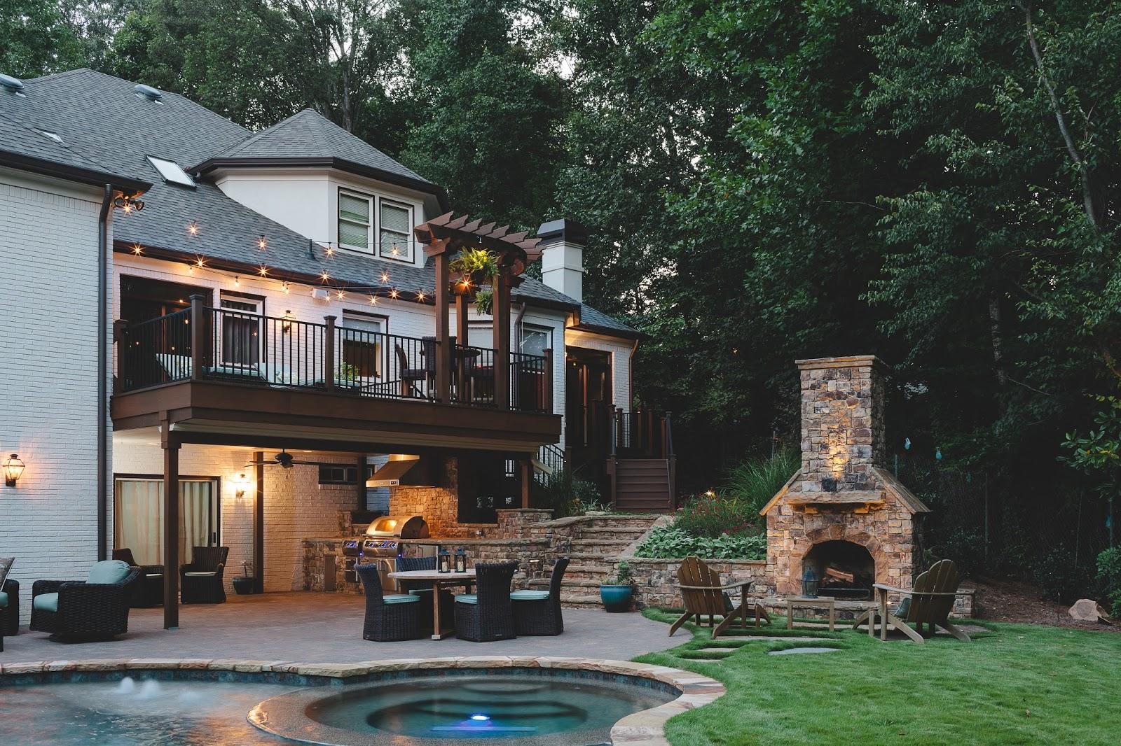 pool and deck in backyard
