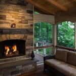 fireplace in porch