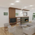 living room with fireplace rendering