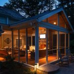 screened porch with furniture